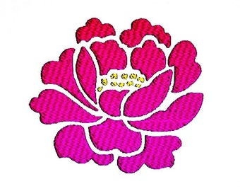 Pink Peony Embroidery Design