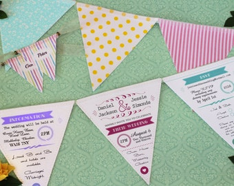 Bunting Wedding Invitation in Fabric and Paper - Rustic Vintage Wedding Invite