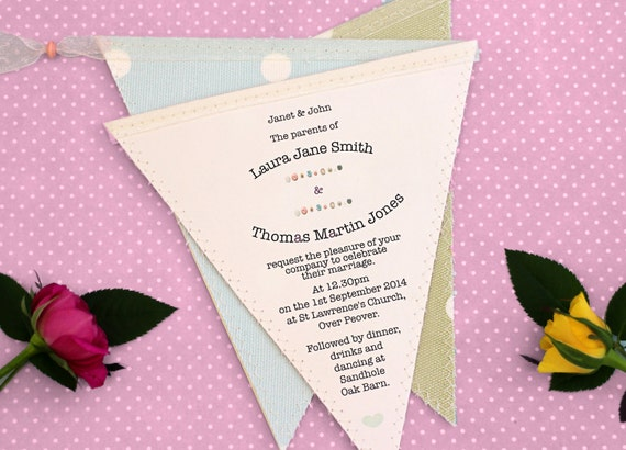 Fabric Wedding Invitations: Bunting Wedding Invitation In Fabric And Paper For Rustic Or