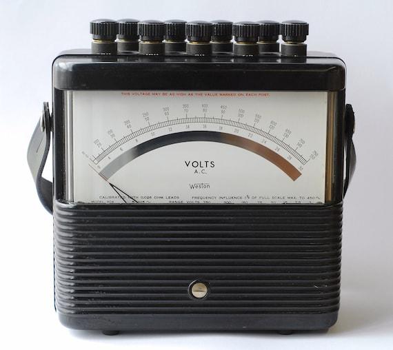 Antique Volt Meter : Vintage weston multi range ac voltmeter in bakelite case made