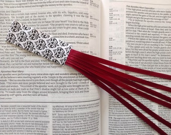 Bookmark ribbons multi page for Bible, hymnal, hardcover books BURGUNDY handmade