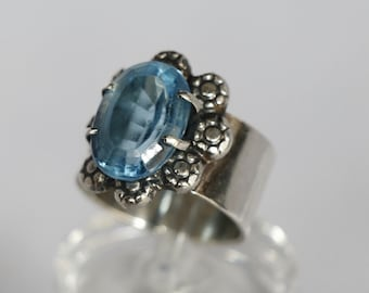 Natural Blue Topaz and Sterling Silver Ring