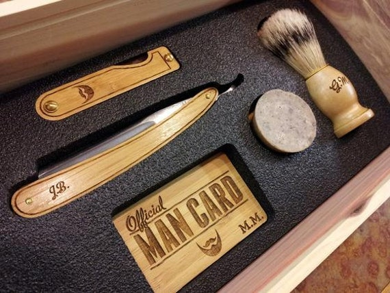 personalized straight razor shave kit in a handmade cigar box. Black Bedroom Furniture Sets. Home Design Ideas