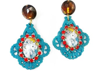 Unicorn Cristal Chandelier earrings - Teal blue