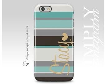 Personalized Case, iPhone 6 Case, Monogram, iPhone 8 Case, iPhone 7 Case, Stripes, iPhone 7 Plus Case, Galaxy S8 Case, Galaxy S8 Plus Case