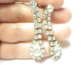 Long rhinestone screw back earrings epsteam