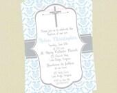 Baptism Invitaiton Boy, Christening Invitation, Boy Communion Invitation, Cross Invite, Baby Dedication Invite, Religious Invite, Printable