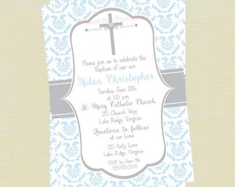 Baptism Invitaiton Boy, Christening Invitation, Boy Communion Invitation, Cross Invite, Baby Dedication Invite, Religious Invite, Printable