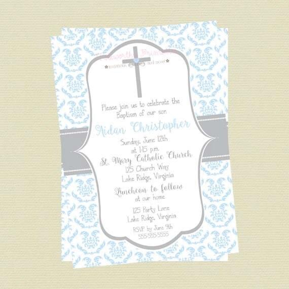 Baptism Invitaiton Boy Christening Invitation Boy Communion