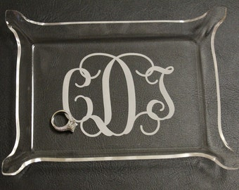 Acrylic Monogram Jewelry tray, Monogram catch all tray, monogram snack tray, acrylic tray, monogram, birthday gift, tray, makeup tray