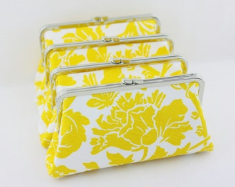 Yellow Damask Wedding Clutches / Lemon Yellow Flower Bridesmaids Clutches / Wedding Clutches - Set of 6