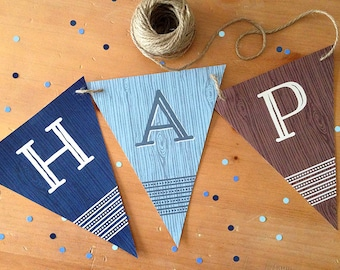 "Happy Birthday Banner, PRINTABLE, Wood Grain Pattern, 3 Color Designs, 7x8.5"" Each Piece"
