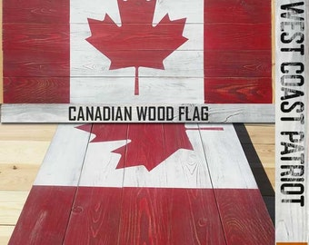Canadian Vintage / Distressed Style Wood Flag