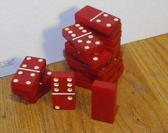 Vintage Red Bakelite Dominoes
