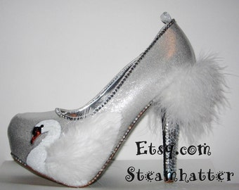 silver swan heels with feathers, rhinestones and glittered soles