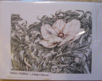 White Flower Cards (Lung Cancer)