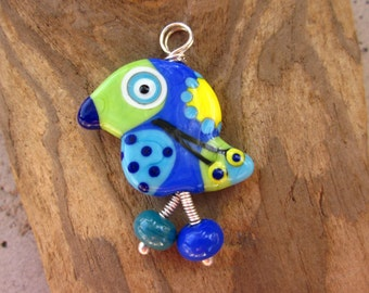 Penelope - the  Lucky Bird Lampwork Glass Pendant Sterling Silver