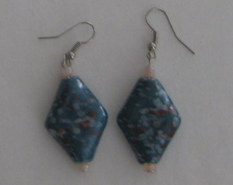 Blue Diamond Shaped Glass Bead Earrings with Silver Plate Wires