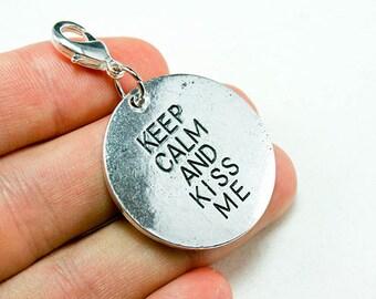 Keep Calm Charm. Cute Love You Charm for Couples. Kiss Me Charm. Keep Calm. SCC277