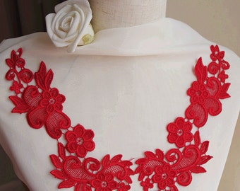 red lace applique, red venice Lace Applique, crochet lace applique - red, in pairs, on sale