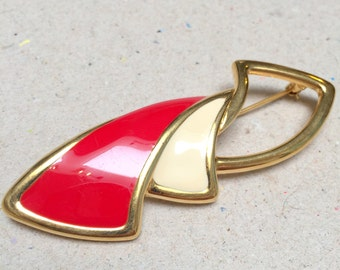 Monet 80s White and Red Enamel Abstract Brooch (vintage retro gold tone modernist pin business simple plain geometric)
