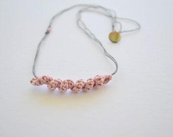 Pink elegant necklace, long necklace, minimalist simple jewelry, boho jewelry, eco friendly, crochet pendant necklace, linen jewelry