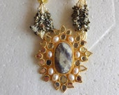 Beaded Necklace / Statement Pendant Necklace with Jaipur Kundan work and Jasper Chips