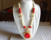 Beaded Necklace / Statement Necklace with Red Coral Pendant