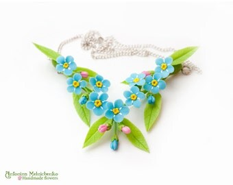 Necklace Forget-me-not - Polymer Clay Flowers
