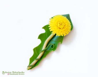 Brooch Dandelion - Polymer Clay Flowers