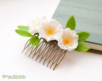 Hair comb Rosehips Rosa canina - Polymer Clay Flowers -  - Wedding Accessories - Wedding Hair Comb - Bridal Hair Comb - Bridal Hair Piece