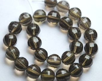 2 Match Pair,Finest Quality,Matched Pair 10mm Size,Smoky Quartz Step Cut Round Ball Beads,