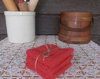 Set of 3 Handmade 100% Cotton Crochet Dish Cloths,  Crochet Dish Rags,Crochet Wash Cloths, Red