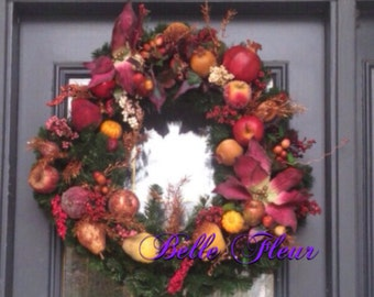 Lush full Fruit, nuts and berries Holiday wreath