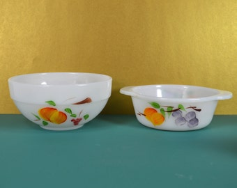 """Fire King White Milk Glass Fruit Bowl Pair, 5.5"""" and 6"""" Durable OvenWare Bowls, Handpainted, Grapes Peaches Pears, Fire King Gay Fad"""