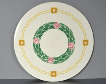 Art Deco Round & Flat Cake Plate, Creamy White Ceramic 11-inch Tile, Green Pink Gold, Spritzdecor Wreath Design, Cheese and Dessert Tray