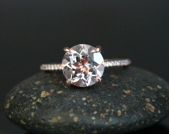 PRICE LOWERED For Limited Time Period - Round 9mm Morganite Engagement Ring in 14k Rose Gold with Diamond Half Eternity Band