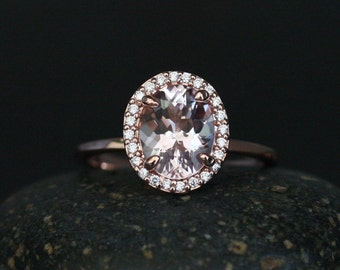 Mind Blowing Engagement Ring with Pink Morganite Oval 9x7mm and Diamond Halo 14k Rose Gold Plain Band