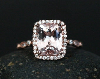 Fine Flawless Morganite Cushion and Diamond Halo Engagement Ring in 14k Rose Gold with Morganite Cushion 10x8mm