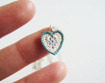 Blue Heart Lace Pendant