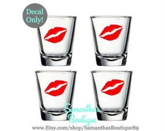 DIY Lips / Kiss Shot Glass Decal (Set of 4)