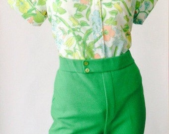 Vintage Bright Green Walking Shorts