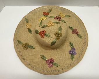 70s Boho Floral Embellished Straw Hat