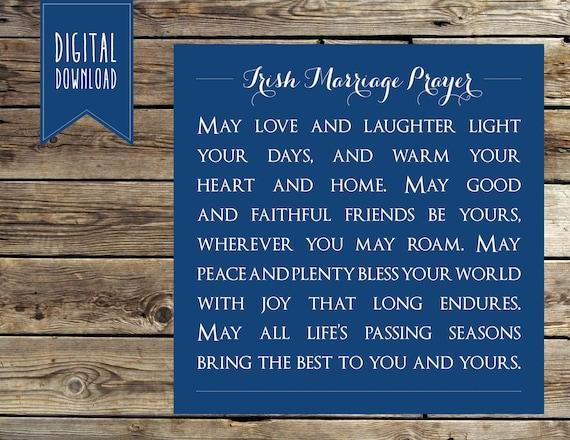 Items similar to Irish Marriage Prayer, Marriage Blessing ...