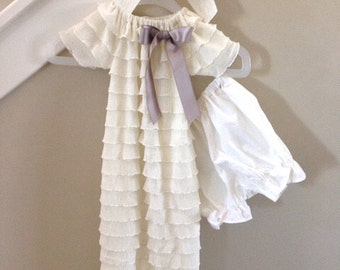Ruffled Baby Blessing Dress, size 0-3 mos.