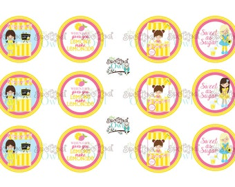 INSTANT DOWNLOAD: Lemonade Stand Girl bottle cap image sheet Version #2