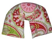 Neck & Shoulder Wrap Microwavable Heating Pad UNSCENTED Flaxseed (Gypsy Paisley White) Hot Pink Lime Green Reusable Flax seed Ice Pack