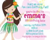 Hula Girl, Luau, Hawaii, Birthday Invitation, Thank you, printable