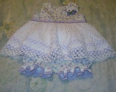 Dress Full of Violets, Cotton Top, Crochet Dress, Custom Made Slip, Diaper Pants - Size 9 to 12 months