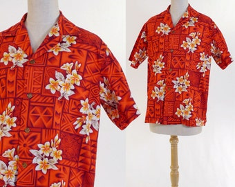 Vintage 1980s Ladies Hawaiian Shirt - Ui Maikai Label - Size Medium / 34 Bust - Hawaiian Flowers - Aloha Blouse - Island Chic